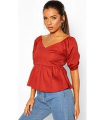 petite cotton poplin volume sleeve blouse, rust