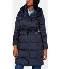 tahari belted shawl-collar down puffer coat