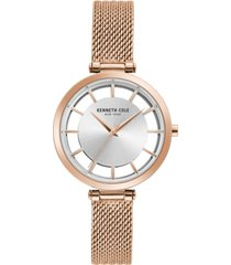 kenneth cole new york ladies' mesh bracelet with transparent dial, 34mm