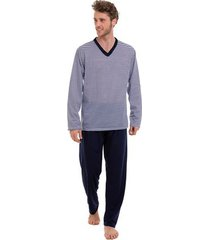 pijama longo masculino de inverno listrado luna cuore