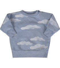bobo choses light blue sweatshirt with clouds for baby boy