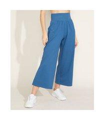 calça de moletom feminina esportiva ace pantacourt cintura super alta com bolsos azul