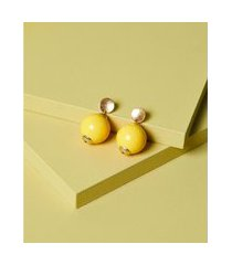 brinco de resina - brinco queens cor: amarelo - tamanho: único