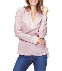 women's nydj linen tunic, size x-small - pink