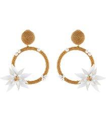 flower embellished woven hoop earrings