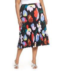 plus size women's halogen pleated midi skirt, size 1x - black
