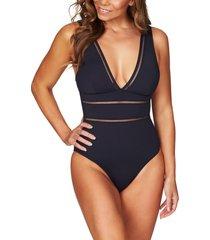 women's sea level spliced one-piece swimsuit, size 4 us - blue