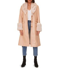 shaci women's faux fur-trim coat - cream - size s