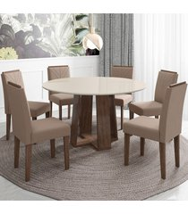 mesa de jantar 6 lugares isabela amanda 100% mdf castanho/off white/bege - new ceval