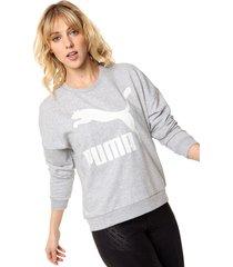 buzo gris  puma   classics logo crew