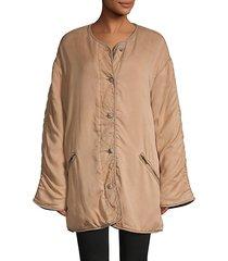 reversible faux fur-lined jacket