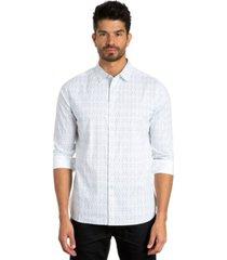 jared lang stripe print long sleeve sport shirt