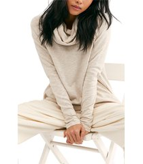 women's free people cowl neck cocoon pullover, size medium/large - beige