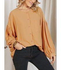 camicetta allentata tinta unita donna manica lunga o-collo con tasca con bottone