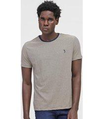 camiseta aleatory listrada off-white/azul-marinho - off white - masculino - algodã£o - dafiti