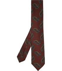 barba paisley-print tie - red