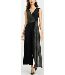 connected petite metallic-embellished sleeveless jumpsuit