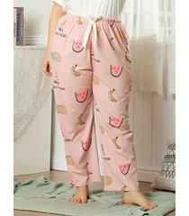 atado con estampado de tallas grandes diseño ropa de dormir pantalones