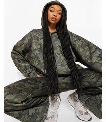 oversized camo hoodie met rits en tekst, multi