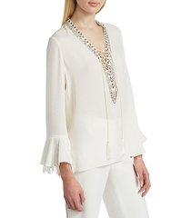 melinda embellished fringe silk blouse