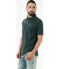 camiseta tipo polo de hombre 100% algodón, color verde