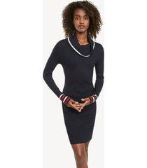 tommy hilfiger women's essential cowl neck sweater dress sky captain - xl