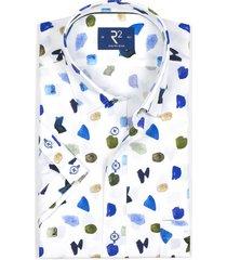 r2 westbrook 105.hbdss.045/014 shirt korte mouw blauw wit