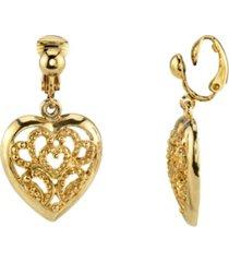 2028 gold tone filigree heart drop clip earrings