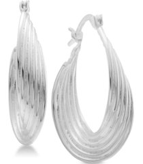 essentials multi-layer twisted oval medium hoop fine silver plate earrings