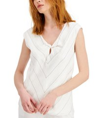 alfani striped twist-neck top, created for macy's