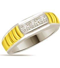 0.15 ct three stone diamonds 14k two tone gold fn men's gift ring 925 silver