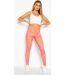 bright tie dye high waist ribbed leggings, orange