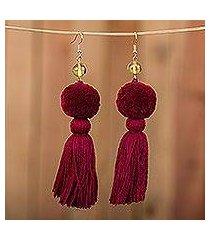 amber tasseled dangle earrings, 'lovely tassels in maroon' (mexico)