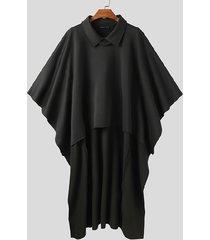 incerun abrigo de capa liso con dobladillo alto y bajo a la moda para hombre