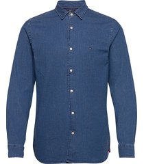 flex chambray shirt overhemd casual blauw tommy hilfiger
