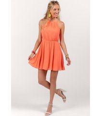 flawless solid dress in coral - living coral