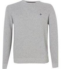 blusa dudalina manga longa tricot jacquard botone masculina (cinza medio, xgg)