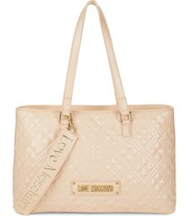 love moschino women's quilted logo tote - beige