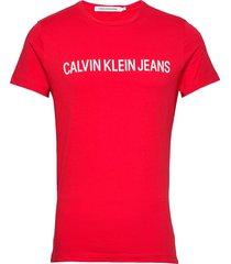 institutional slim logo tee t-shirts short-sleeved röd calvin klein jeans