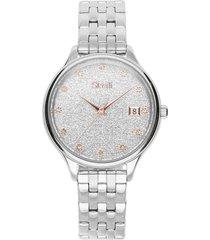 orologio solo tempo stroili linea niagara cinturino e cassa in acciaio silver per donna