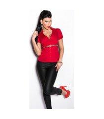 sexy blouse met korte mouwen en luipaard riem rood