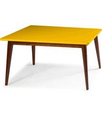 mesa de madeira retangular 140x90 cm novita 609 cacau/amarelo - maxima