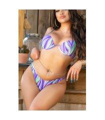 sexy meerkleurige onderbeugel pushup bikini paars