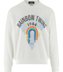 dsquared2 designer sweatshirts, rainbow printed white cotton men's sweatshirt