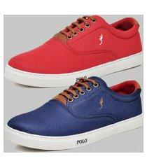 kit 2 pares sapatênis casual masculino polo blu vermelho/azul
