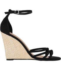 amaro feminino sandália anabela detalhe nó, preto