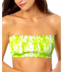california waves juniors smocked bandeau swim top, created for macy's women's swimsuit