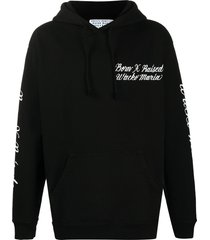 bornxraised x wacko maria logo-embroidered loose-fit hoodie - black
