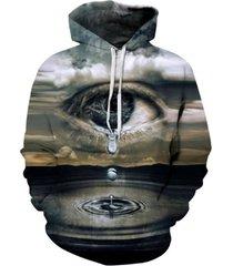 thin hooded hoodies print clouds big crying eyes 3d sweatshirts
