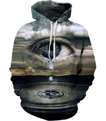 thin hooded hoodies print clouds big crying eyes 3d sweatshirts
